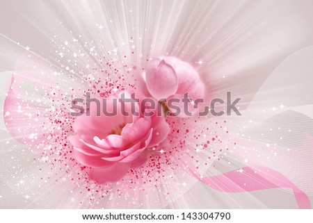 Beautiful roses with bands, lights and dots