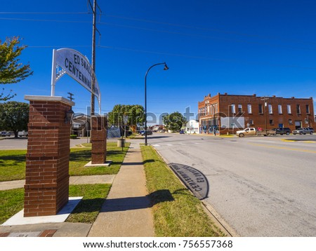 Beautiful Route 66 street view at a small town in Oklahoma - STROUD / OKLAHOMA - OCTOBER 16, 2017