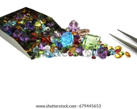 Beautiful ruby,zircon,blue sapphire,citrine,topaz,garnet,green sapphire,amethyst,diamond,gemstone,isolated on white