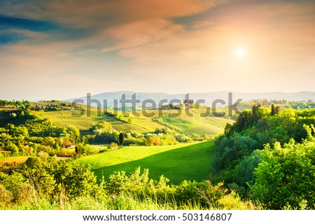 Beautiful rural landscape at sunset, Italy