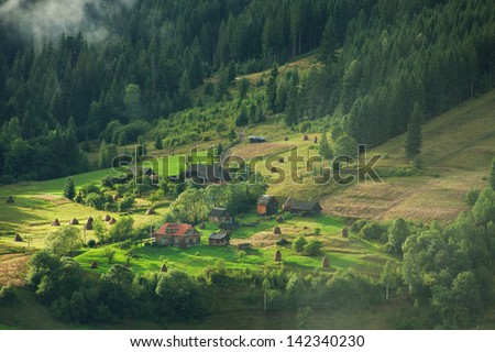 beautiful rural landscape in Carpathian Mountains, Vorokhta, Ukraine - stock photo