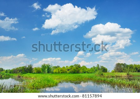 Beautiful rural landscape with flood waters of Narew river in Poland. - stock photo