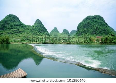 beautiful rural scenery in yangshuo yulong river,China - stock photo