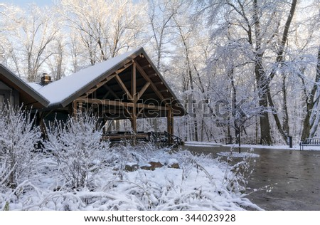 Beautiful rustic park lodge surrounded by trees with snow clinging to the branches. - stock photo