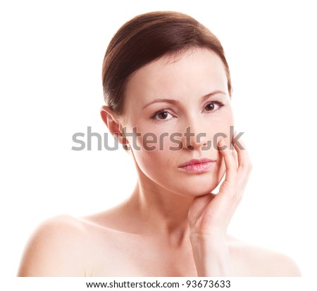 beautiful sad adult woman isolated against white background - stock photo