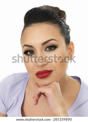 Beautiful Sad Lonely Thoughtful Young Hispanic Woman With Problems on Her Mind Against A White Background - stock photo