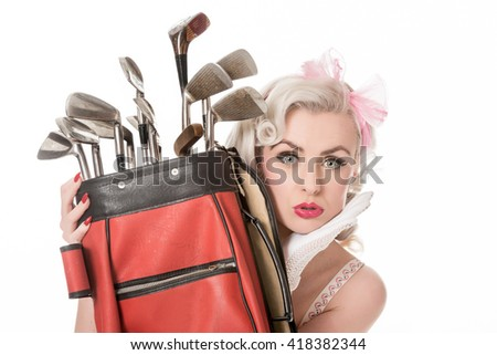 Beautiful sad retro girl peeking out from behind red golf bag, isolated on white with space for text, horizontal format - stock photo
