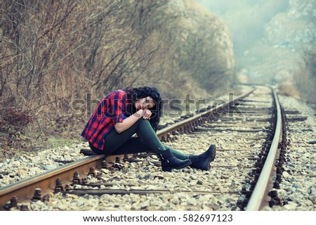 Sad Young Girl Sitting Lonely Rail Track Stock Photos