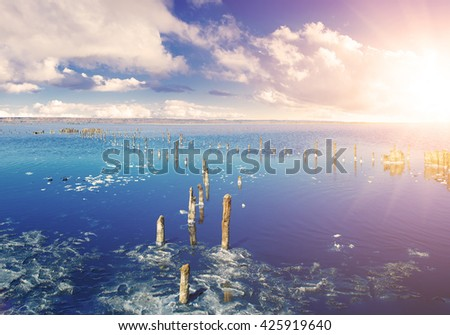 Beautiful salt lake with blue and pink water,  white clouds  and wooden posts, natural landscape amazing background - stock photo