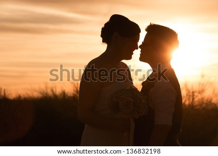 Beautiful same sex couple in civil union at sunset - stock photo