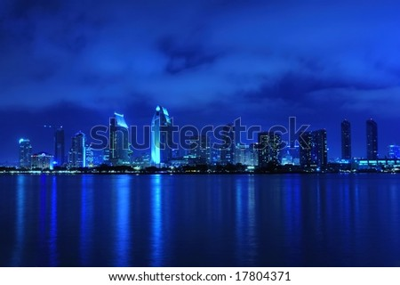 Beautiful San Diego skyline view at night