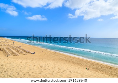 Beautiful sand beach in Morro Jable town on Jandia peninsula, Fuerteventura, Canary Islands, Spain