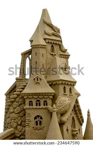 beautiful sand castle made with great skill  - stock photo