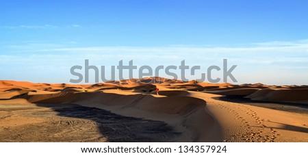 Beautiful sand dunes and blue sky - stock photo