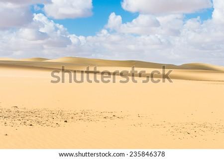 Beautiful sand dunes in the Sahara desert in Egypt - stock photo
