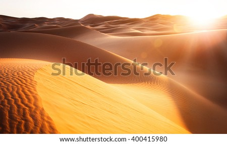 Beautiful sand dunes in the Sahara. Morocco, Africa - stock photo