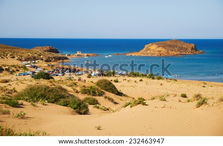 Beautiful sandy beach at Gomati. Lemnos island, Greece