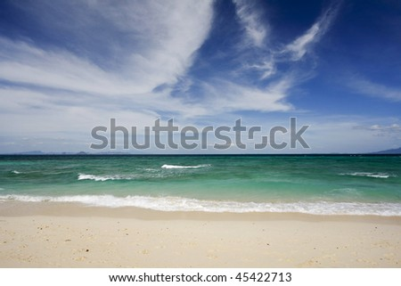 Beautiful sandy beach, Bamboo beach, Thailand - stock photo