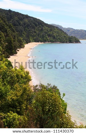 Beautiful sandy beach of Abel Tasman National Park, South Island, New Zealand - stock photo