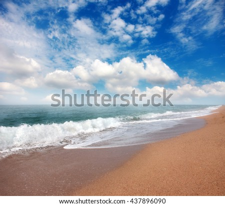 beautiful sandy beach of the Mediterranean coast of Spain