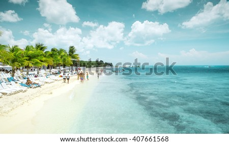 Beautiful sandy beach on Cozumel island, Mexico - stock photo