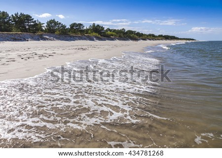 Beautiful sandy beach on Hel Peninsula, Baltic sea, Poland - stock photo