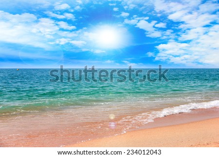 beautiful sandy beach on the coast sea