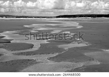 beautiful sandy beach on the wild atlantic way in ballybunion county kerry ireland - stock photo