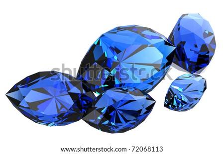 beautiful sapphire gems - stock photo
