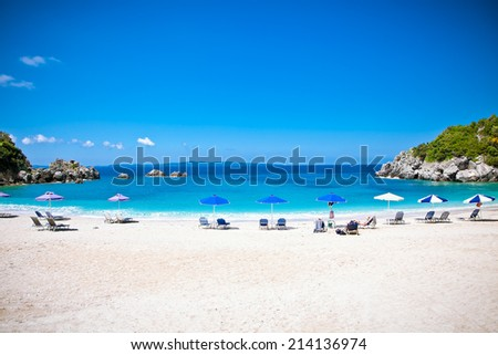 Beautiful Sarakiniko beach. Just 8km outside the village Parga after Agia village in Syvota area, Greece. - stock photo