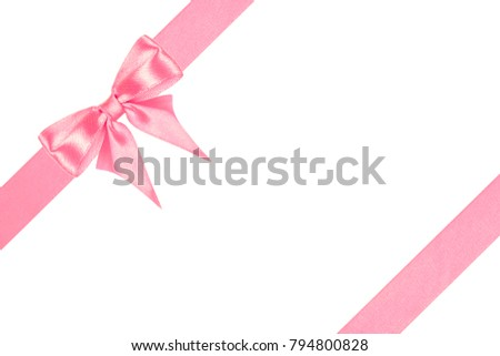 Beautiful satin gold bow and  slanting ribbons isolated on white background