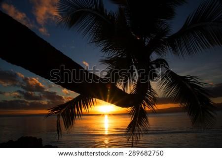 Beautiful Savusavu, Fiji at sunset - stock photo