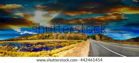 Beautiful scenario of New England in foliage season. - stock photo