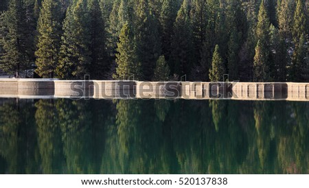 Beautiful scene at Lake Hume dam in Sequoia and Kings Canyon National Park, California.