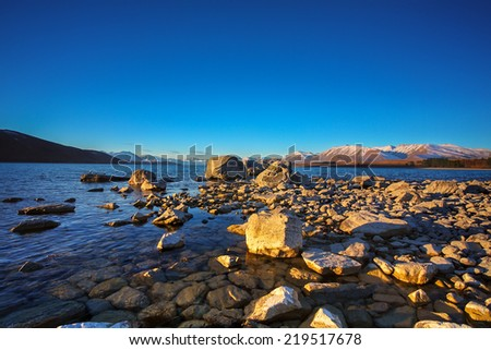 Beautiful scene near Lake Takapo New Zealand during holiday. - stock photo