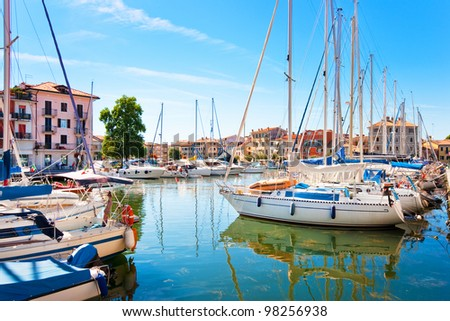 Beautiful scene of boats lying in the harbor of Grado, Friuli-Venezia Giulia, Italy at Adriatic Sea - stock photo