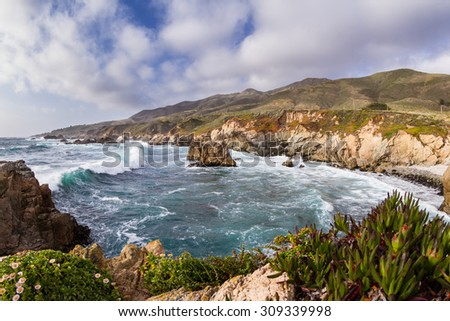 beautiful scene of the California coast with its classic dramatic coastline lined with rocks and cliffs and wildflowers in the foreground - stock photo