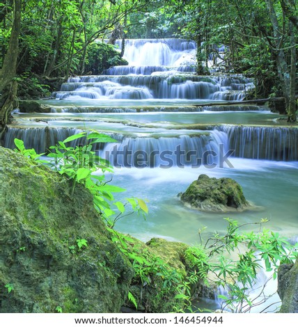 Beautiful scenery Huay Mae Kamin waterfall National Park Kanchanaburi  province,Thailand