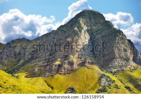 Beautiful scenery in the mountains of Du Toits Kloof pass in Western Cape, South Africa - stock photo