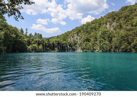 Beautiful scenery in the UNESCO-protected natural heritage site Plitvice Lakes National Park in Croatia. - stock photo