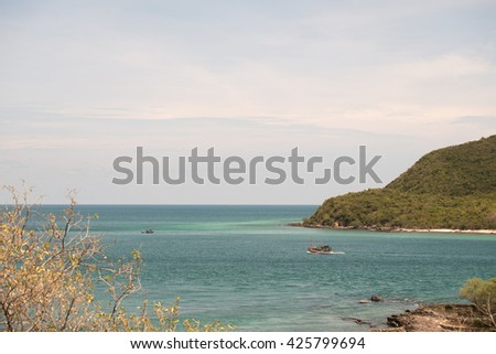 Beautiful scenery looking the Pattaya Beach in Thailand, Tropical landscape sea at pattaya,Chon Buri in thailand. Pattaya beach Chonburi, Thailand. - stock photo