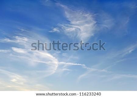 Beautiful scenery of elongated stratospheric clouds in autumn season - stock photo