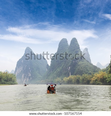 beautiful scenery of lijiang river,China - stock photo