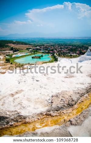 beautiful scenery of Pamukkale in Turkey - stock photo