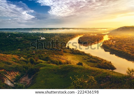 beautiful scenery of river Dniester - stock photo