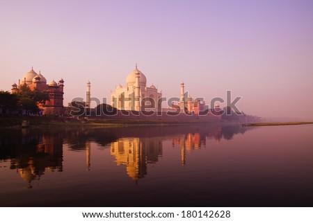 Beautiful Scenery of Taj Mahal and a Body of Water, India - stock photo