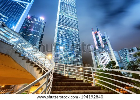 Beautiful scenery of the city at night - stock photo