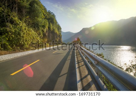Beautiful scenery of the coastal road - stock photo