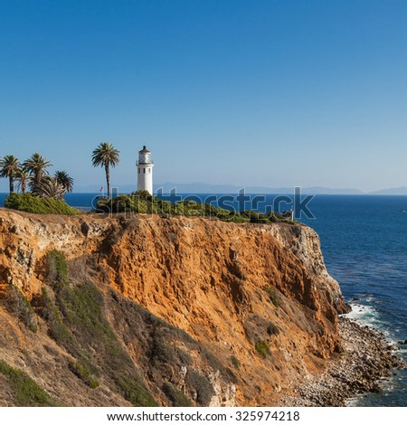 Beautiful scenery on point vicente in rancho palos verdes and pacific ocean Los Angeles, California. - stock photo