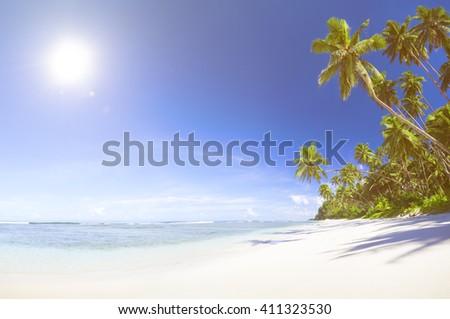 Beautiful scenic beach - stock photo
